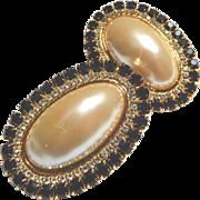 Big, Bold Kirks Folly Faux Pearl and Rhinestone Clip Earrings