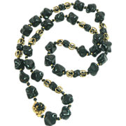 Miriam Haskell Black Glass Gold Plated Nugget Necklace