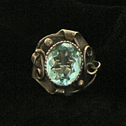 Sterling Crystal Ring Retro Italy