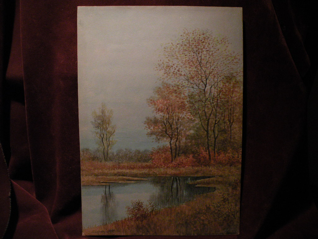 Signed watercolor painting autumn trees by a pond