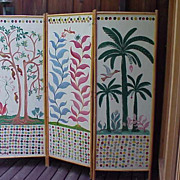 Haitian Art rare large painted room screen by well listed naive artist ADAM LEONTUS (1923-1986