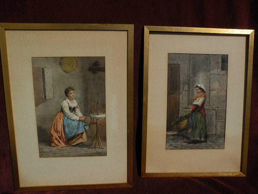 Pair 19th century Italian genre watercolor paintings signed BUZZI