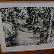 MILFORD ZORNES (1908-2008) California Scene art black ink watercolor painting of river and tre