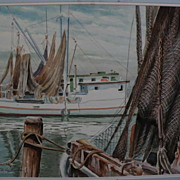 R. HAL BURRISS (1892-1991) listed American watercolor Southern art painting of fishing boats a