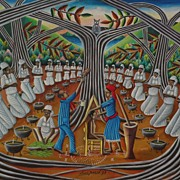 LOUIS JOSEPH (1932-2007) listed Haitian art colorful voodoo ceremony painting
