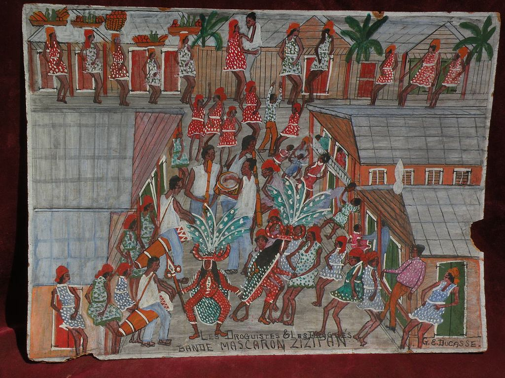 Haitian art naive painting by well listed artist GERVAIS EMMANUEL DUCASSE (1903-1988)