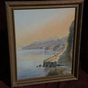 GIOVANNI BATTISTA (1858-1925) Italian gouache painting extensive coastal landscape probably Am