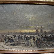 ADOLF STADEMANN (1824-1895) German art fine oil painting ice skaters at sunset
