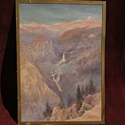 JAKOB KOCH (1876-1962) early 20th century California art watercolor painting of Yosemite Valle