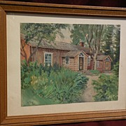NIKOLAI BELIJ (1896-1968) Finnish art watercolor painting of a house dated 1930