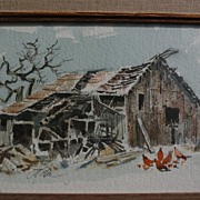JAKE LEE (1915-1991) regional art California Scene plein air watercolor and ink drawing of a barn with chickens