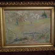 FRANK J. GIRARDIN (1856-1945) Indiana and California impressionist pastel drawing of spring la