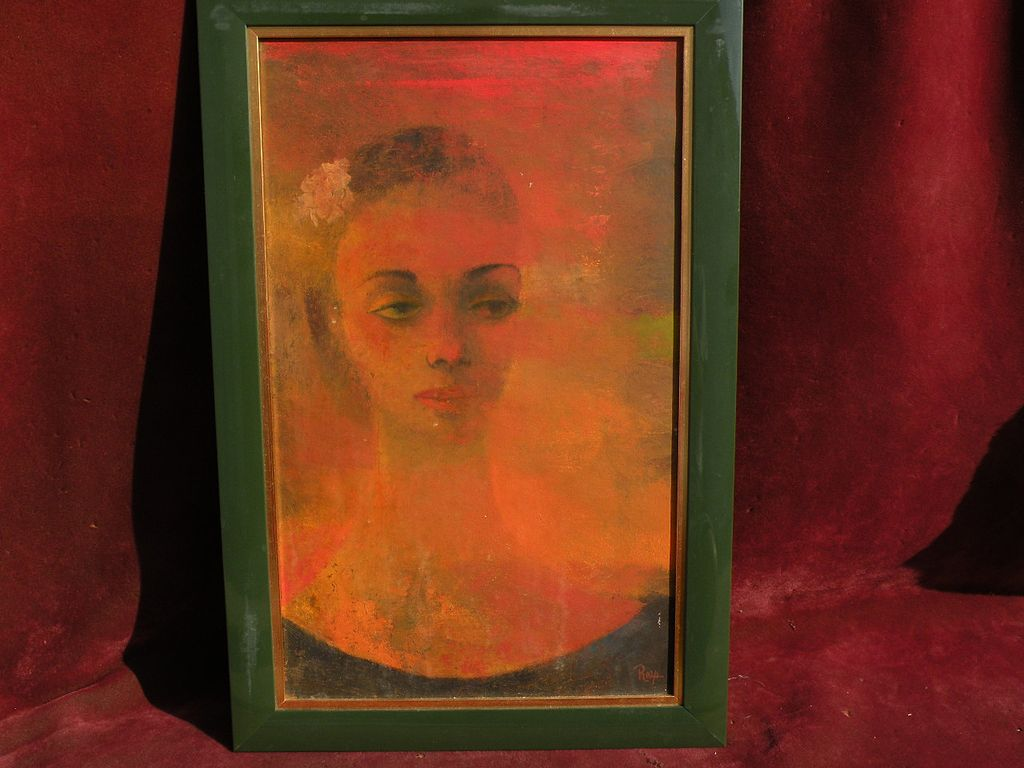 Signed modernist painting of a woman possibly by EDWARD REEP (1918-2013) noted California artist