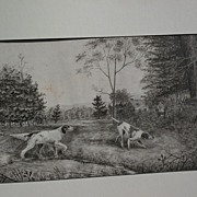 American 1896 watercolor hunting dogs signed with monogram possibly by JAMES DAVID SMILLIE (18