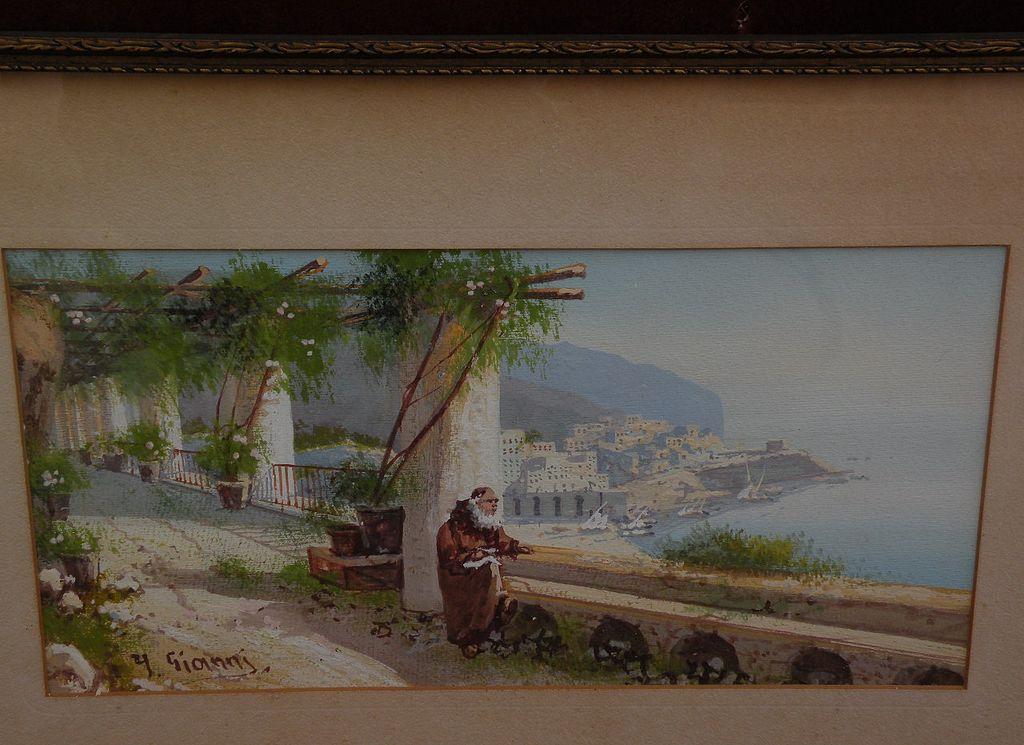 Y. GIANNI Italian gouache drawing trellised terrace above steep coastline