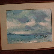 ARIE SMIT (1916-) impressionist seascape Indonesian painting dated 1980 Dutch Balinese art