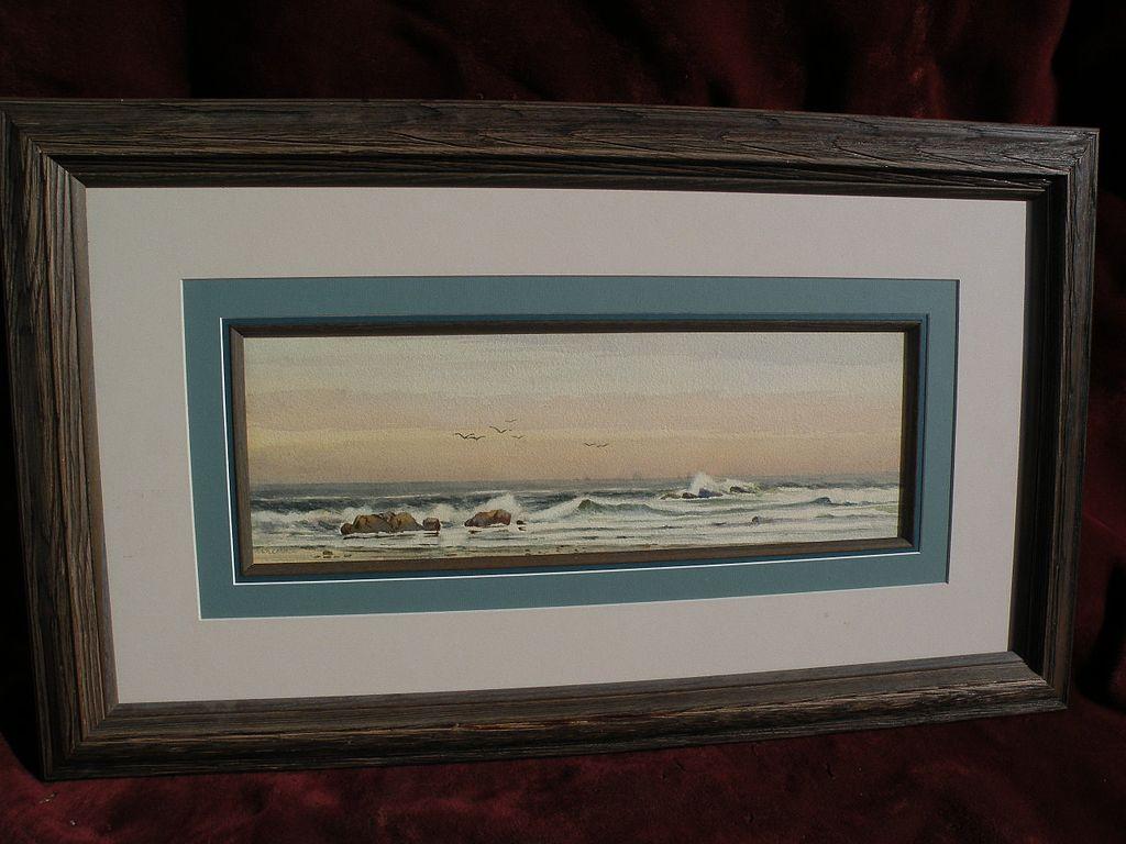 EPHRAIM FRANK LINCOLN (circa 1900) American signed 19th century coastal watercolor painting marine art