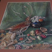 English trompe l'oeil detailed watercolor still life painting circa turn of the century or Vic