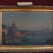 Late 19th century Neapolitan painting Bay of Naples Italy with Mt. Vesuvius