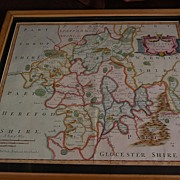 Antique map of Worcestershire England circa early 1700's by Robert Morden with later hand coloring
