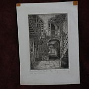 EUGENE F. LOVING (1908-1971) New Orleans Louisiana art original pencil signed etching of Frenc