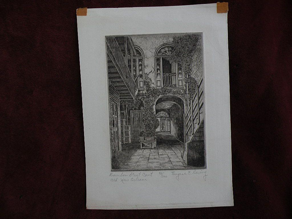 EUGENE F. LOVING (1908-1971) New Orleans Louisiana art original pencil signed etching of French Quarter