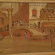 DANA BARTLETT (1882-1957) vintage California plein air art impressionist drawing of Venice ...