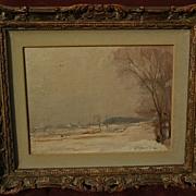 CONSTANT RAPHAEL FURRICK (1888-1966) Connecticut impressionism poetic winter landscape paintin