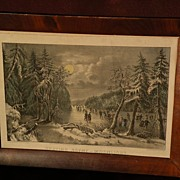 "CURRIER & IVES ""Skating Scene--Moonlight"" scarce small folio hand colored lithograph print new best 50"