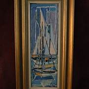 JEAN CHEVOLLEAU (1924-1996) color modernist drawing of boats in harbor by noted School of Paris French painter