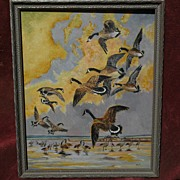 SOLD Oil on board of Canada Geese likely painted by RICHARD DETREVILLE (1864-1929) Northern Ca