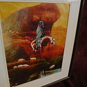 Contemporary Native American Art painting of traditional Southwest hunter on Appaloosa horse i