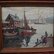 GIRAGOS DER GARABEDIAN (1892-1980) Rockport harbor painting by noted New England artist