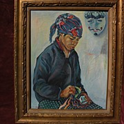 Southeast Asian art colorful signed painting of a young man in ethnic clothing with ethnic mas