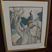 California watercolor of quail in a natural setting by MUGGS VAN SANT contemporary of Millard Sheets