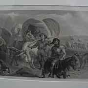 "F.O.C. DARLEY (1822-1888) original 19th century etching ""Emigrants on the Plains"""