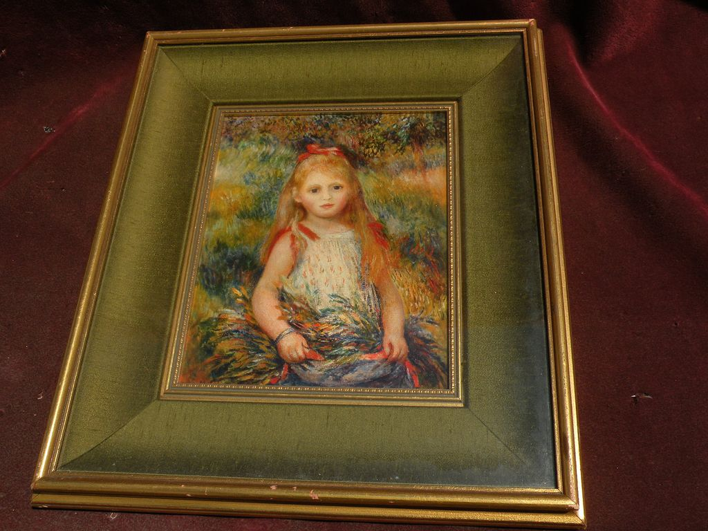 """PIERRE AUGUSTE RENOIR (1841-1919) framed reproduction print """"La Fillette a la Gerbe"""" 1888"""