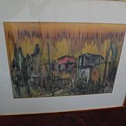 Modern Jewish art semi abstract large 1962 signed watercolor painting signed BENAROYA