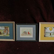 WINNIE THE POOH **SET OF THREE** original ink and watercolor drawings by Margaret Inman-Kane