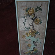 MARGO ALEXANDER (1894-1965) mid century modern highly decorative gouache and silver leaf ...