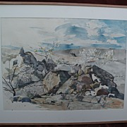 Southwest American art large desert landscape watercolor painting signed McGrew