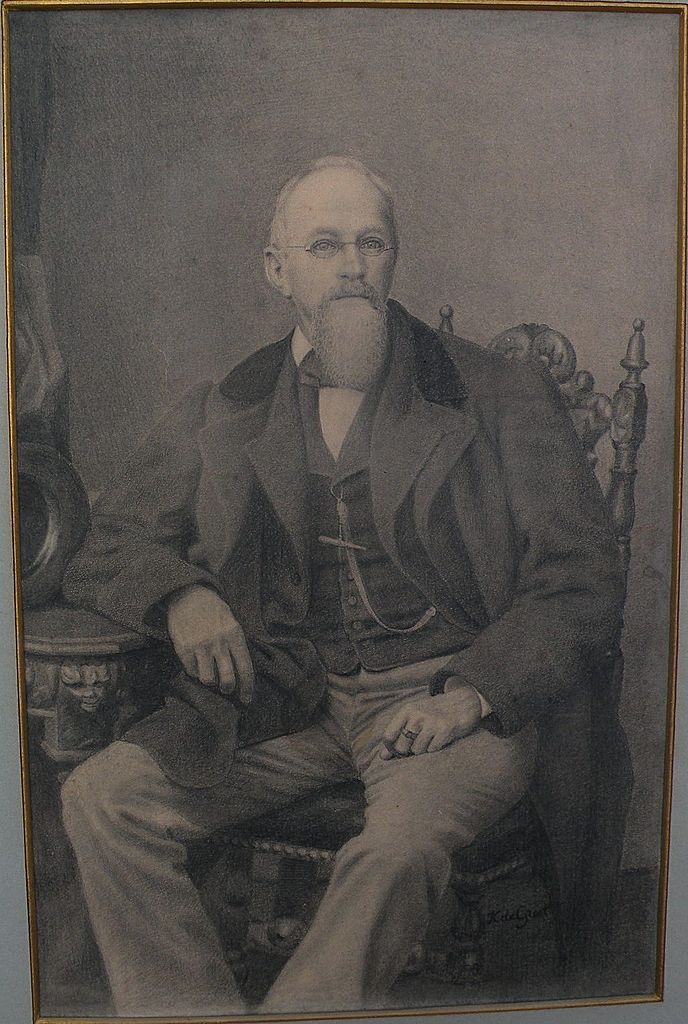 Fine original late 19th century Dutch signed pencil drawing of a seated gentleman