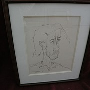 LEONARDO NIERMAN (1932-) early self portrait ink drawing by the noted Mexican contemporary art