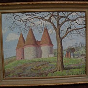 Impressionist painting of a rural scene, possibly wine or chateau country