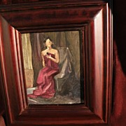Decorative intimate impressionist painting of a seated woman