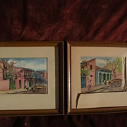 PAIR of watercolors of old New Orleans by listed artist N. LUCKOW