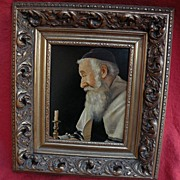 SOLD Judaica Jewish art signed oil painting of contemplative bearded holy man