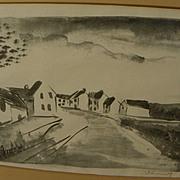 """MAURICE de VLAMINCK (1876-1958) pencil signed lithograph print ca. 1925 """"Nelle-la-Vallee,"""