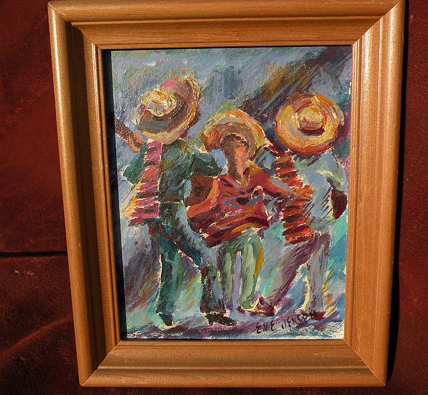 EVE JENSEN small decorative painting of dancing Mexican mariachis by listed California artist