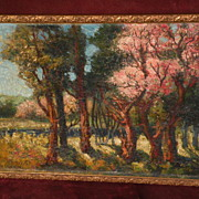 FRANK GLYNDON American-English artist impressionist landscape painting of flowering trees in s